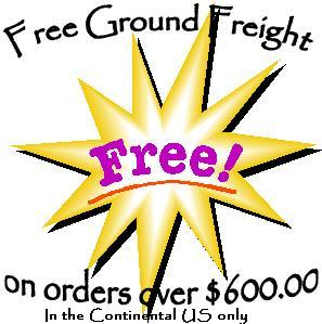 FREE Ground Shipping on all orders over $600.00