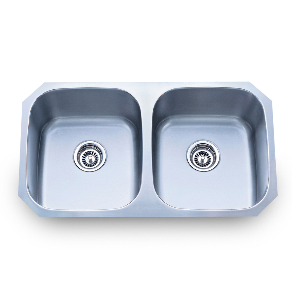 Undermount Stainless Steel Sink 32 1/4 X 18 1/2 X 9 Overall Two Equal  Bowls: 14 1/2 X 16 1/2 X 9 18 Gauge 304 Stainless Steel